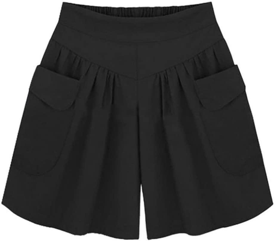 Wide Leg Shorts Pants, Women Hot Pants Plus Size Loose Pockets Ladies Summer Shorts