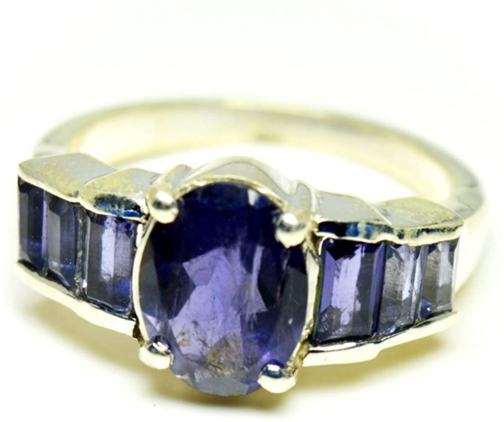 55Carat Genuine Mixed Cut Iolite Sterling Silver Promise Ring Handcrafted Sizes 4,5,6,7,8,9,10,11,12,13
