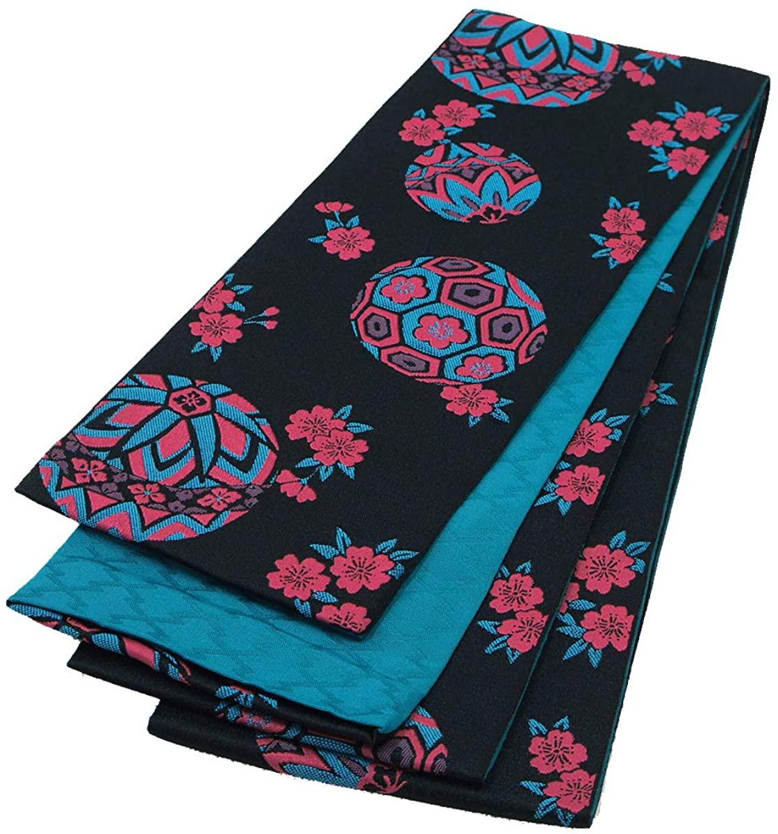 Japanese Hanhaba OBI Belt for Yukata Kimono Black