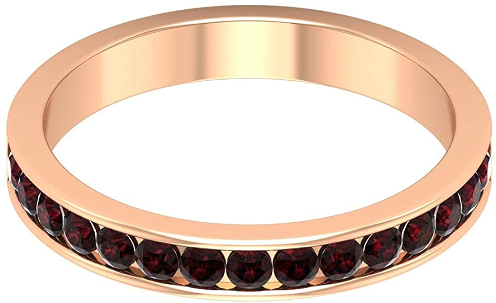 3/4 Ct Antique Garnet Statement Half Eternity Ring, Unique Wedding Band Ring For Her, Certified Gemstone Partywear Ring, Dainty Women Ring, 10K Gold