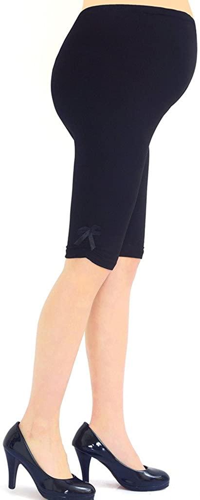 Liang Rou Maternity Over Belly Ultra Thin Short Leggings Black