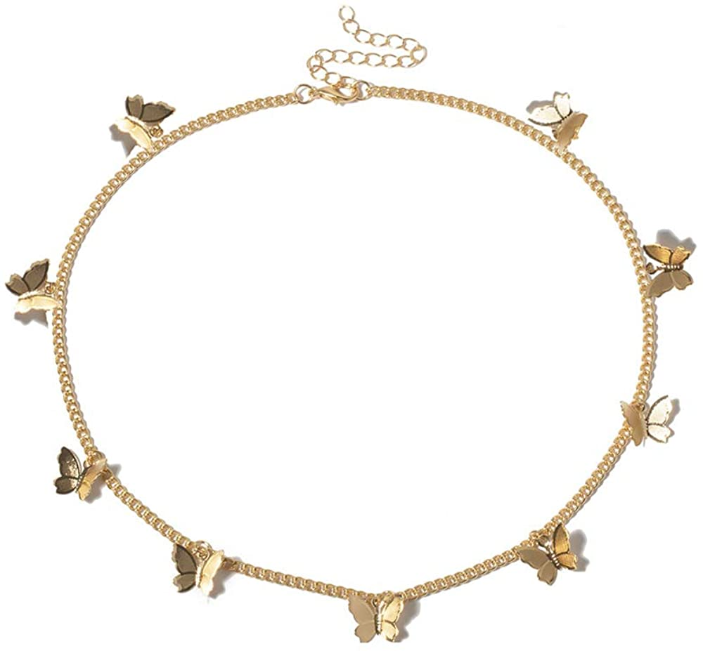 Butterfly Choker Necklace Silver Gold Butterfly Pendant Necklace Dainty Choker Necklace Butterfly Chain Butterfly Necklace Choker for Teen Gilrs Aesthetic Jewelry Gift