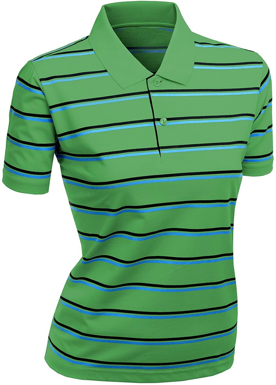 Xpril Women's 180-200 TC Silket Striped Polo Dri Fit Collar T-Shirt