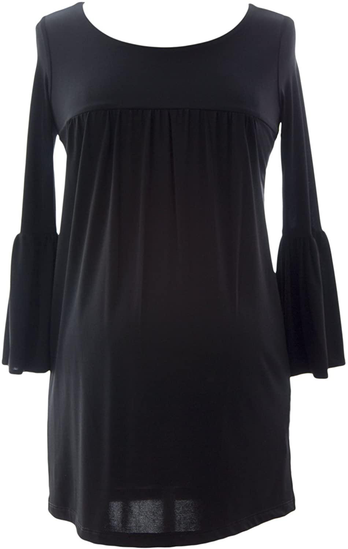 Olian Women's 3/4 Bell Sleeve Maternity Tunic Small Black