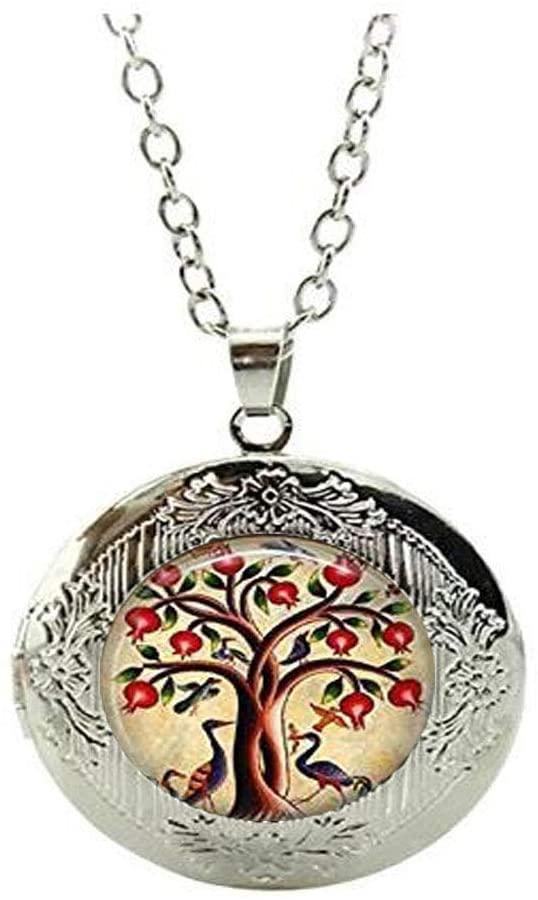 Bird Jewelry Pomegranate Fruit Tree Nature Art Locket Necklace Tree of Life Locket Necklace