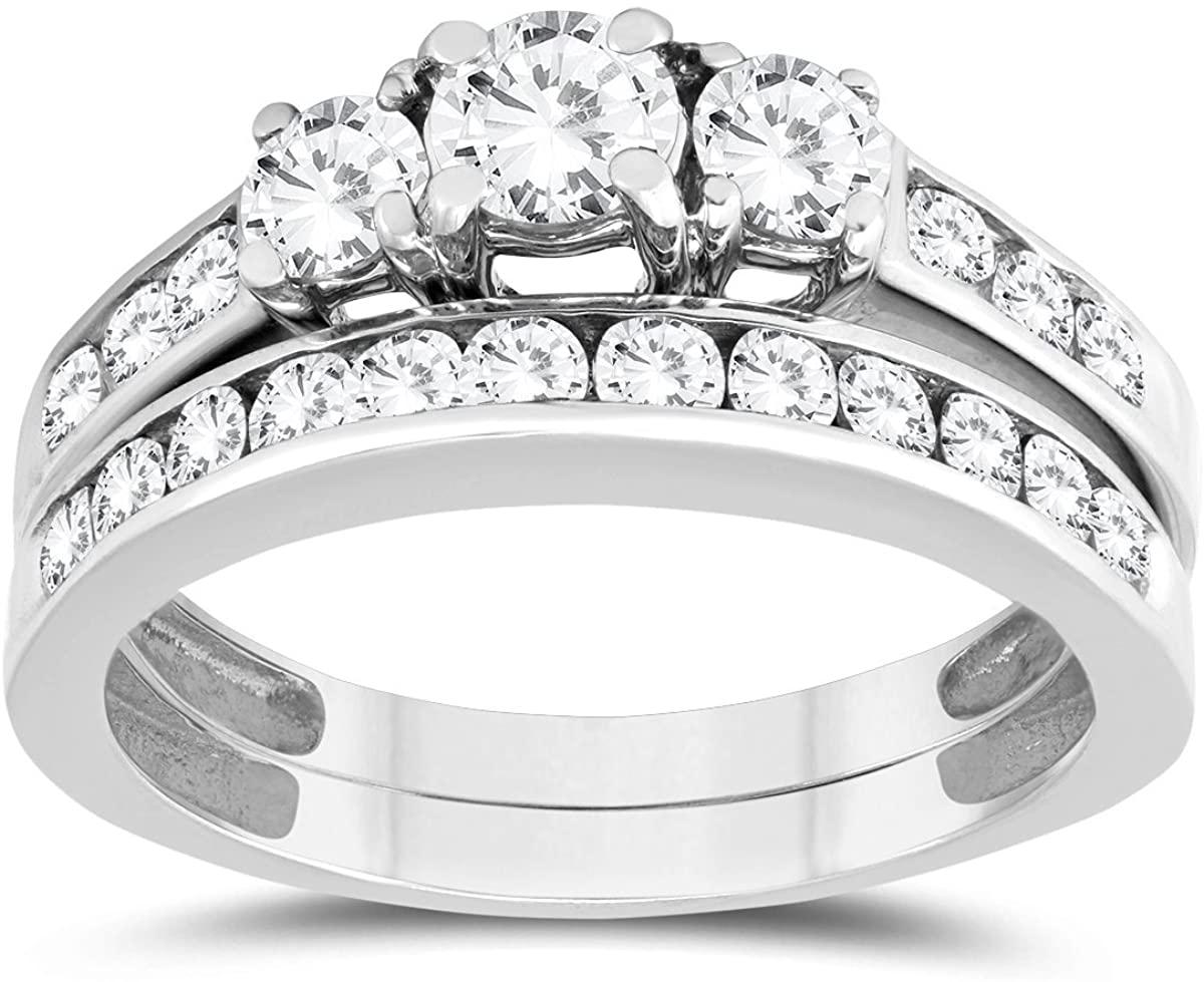 1 1/2 Carat TW Three Stone Diamond Bridal Set in 10K White Gold