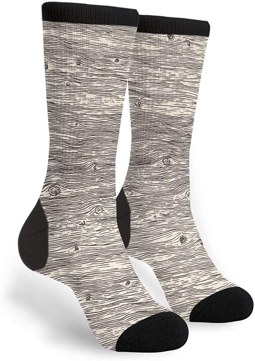 Wood Texture Women's Men's Crew Socks Casual Fun Dress Socks Long Cute Socks