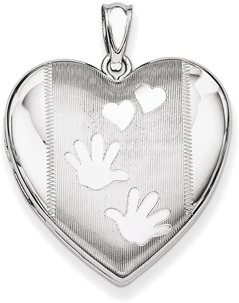 Sterling Silver Rhodium-plated Handprints Heart Locket