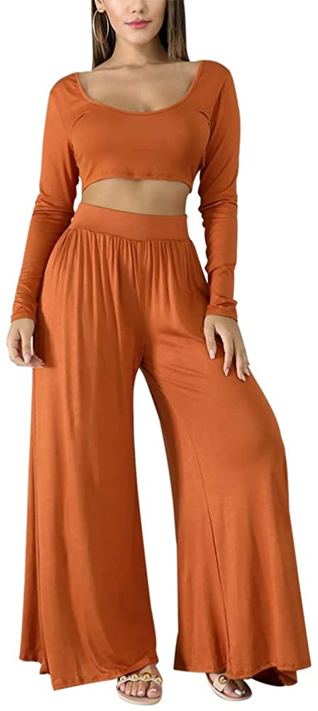 Womens 2 Piece Sets Crop Top High Waisted Sport Set Flowy Pants Pjs Lounge Wear