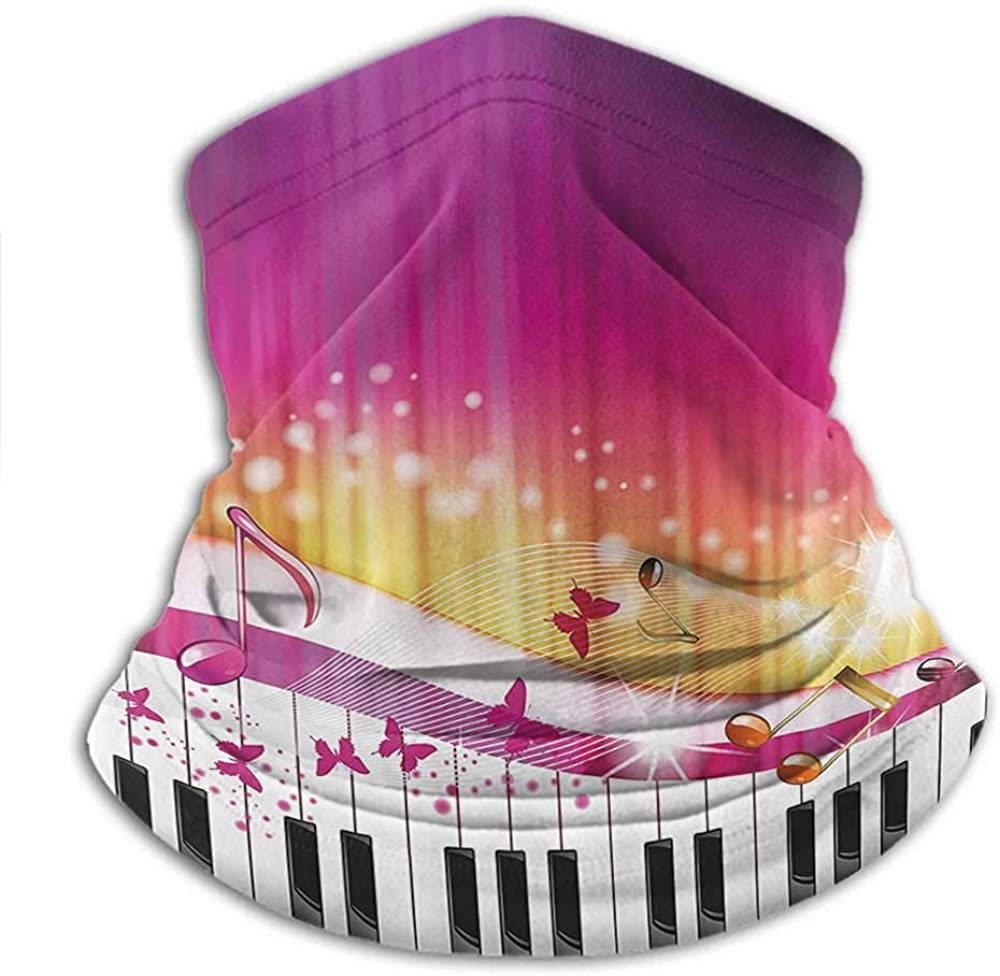 Seamless Face Bandana Abstract For Winter Multifunctional Piano Keys with Butterflies Stars and Musical Notes Romantic Artwork Hot Pink Yellow White
