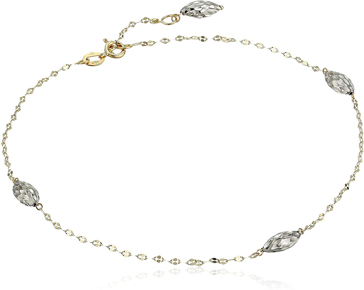 14k Two Tone Gold Beaded Station Anklet 9