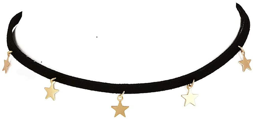 LittleB Minimal Star Choker Short Necklaces Fashion Gold Punk Necklace Vintage Velvet Necklace Chain Jewelry for Women and Girls