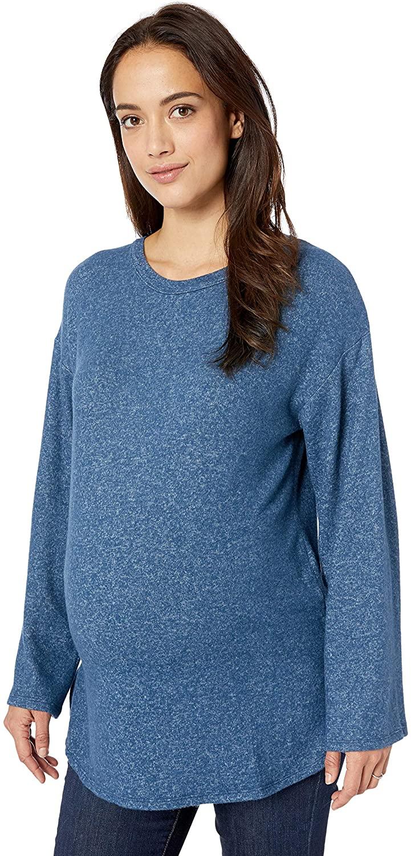 Motherhood Maternity Women's Maternity Long Sleeve Braided Inset Brushed Hacci Tee Shirt