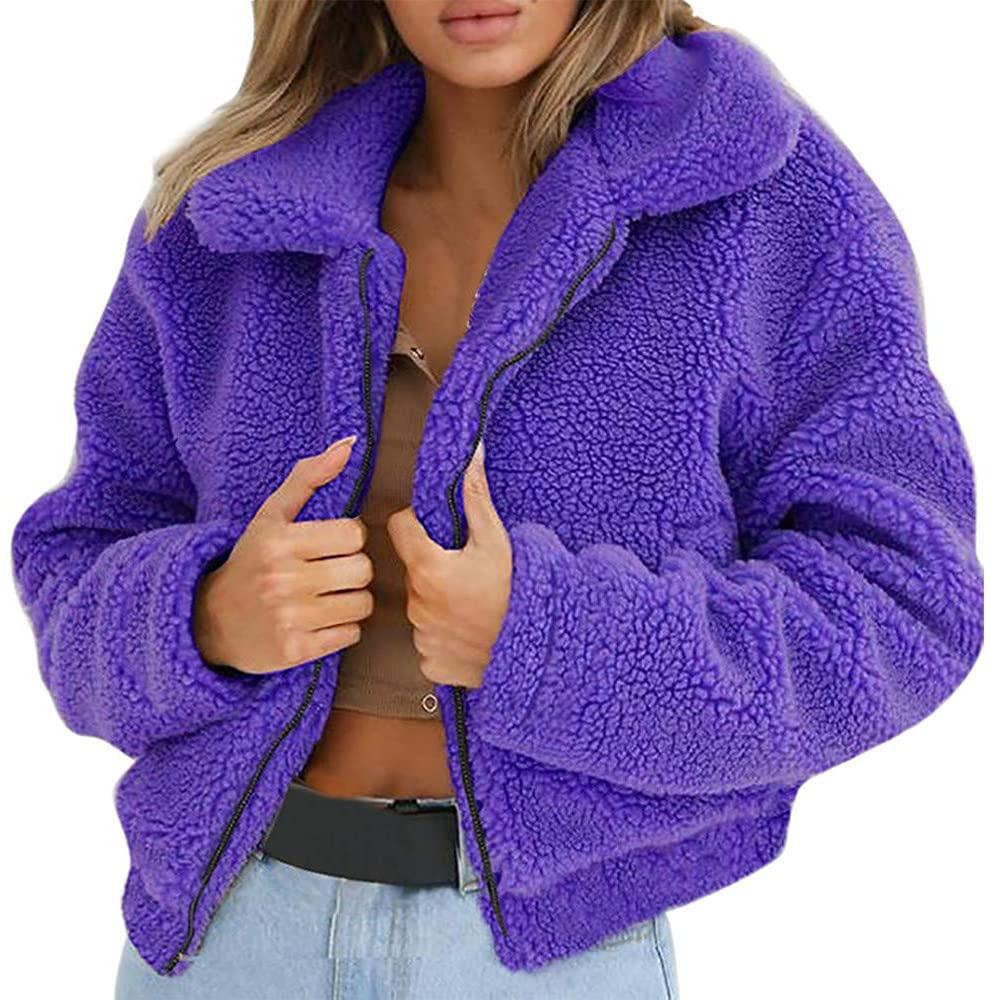 OMMR-Clearance Winter Warm Solid Faux Fur Jacket Womans Coat Winter Outwear Fluffy Jacket Sweatshirt Purple