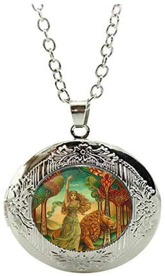 Beautiful Egyptian Goddess Glass Locket Necklace Jewelry Gift Beautiful Jewelry Gift