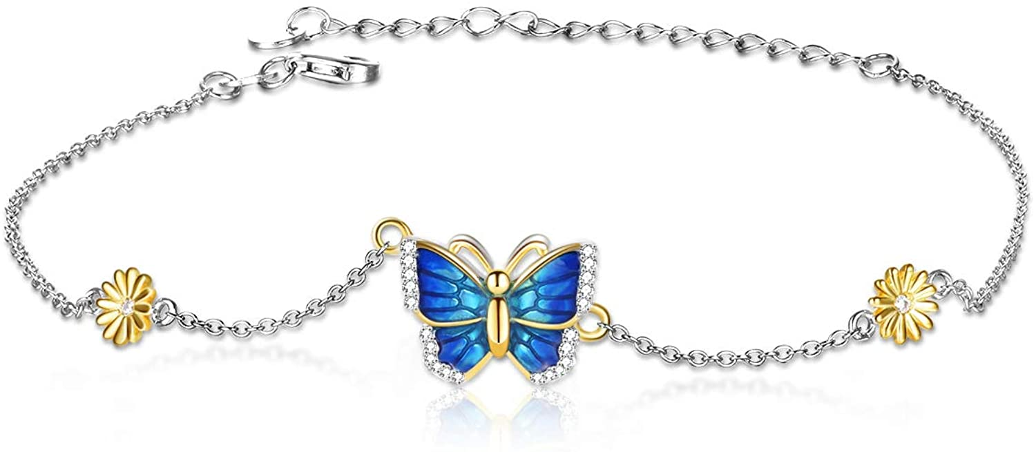 POPLYKE Butterfly Anklet for Women Sterling Silver Sunflower Daisy Flower AdjustableFoot Chain Gifts for Girlfriend Birthday Valentines