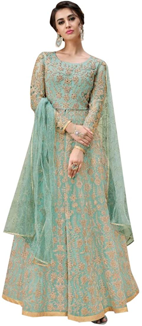 8822 Indian Hit Latest Sea Green Net Anarkali Suit Heavy Embroidery Work Bridal Wedding Parry Cocktail Wear Ethnic Women Girls Semi Stitched