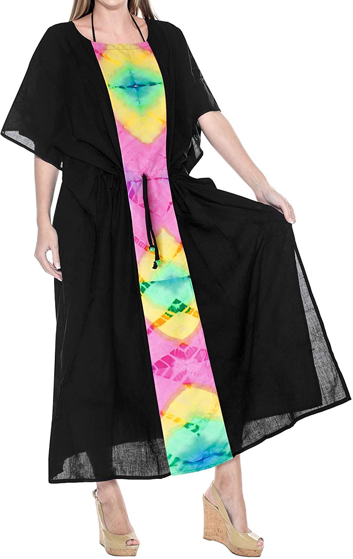 LA LEELA Women's Maxi Kaftan Wedding Dresses Sleepwear Cover Ups Solid Plain