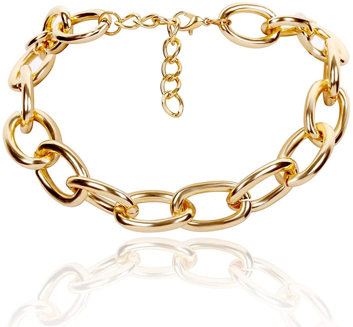 jinlu Gold Plated Cross Chain Choker Necklace for Women