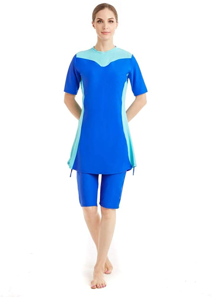 Womens Modest Muslim Burkini Swimwear Rash Guard Surfing Suit Maillot Short Sleeve Swimsuit (Red, X-Large)