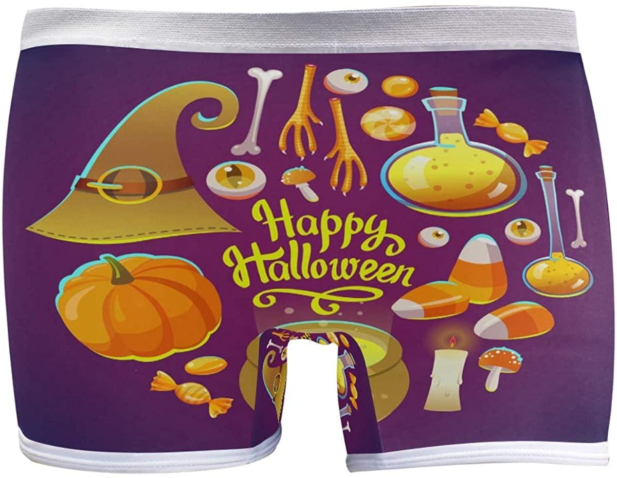 SLHFPX Womens Underwear Boy Shorts Panties Happy Halloween Chemistry Pumpkin Composition Ladies Seamless Boyshort Panties