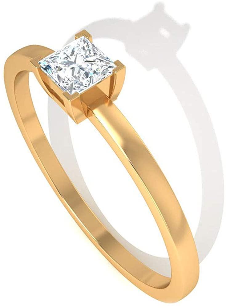 0.50CT Princess Cut IGI Certified Solitaire Diamond Engagement Ring, Women Simple Statement Gold Bridal Wedding Ring, Unique Diamond Stacking Ring Set