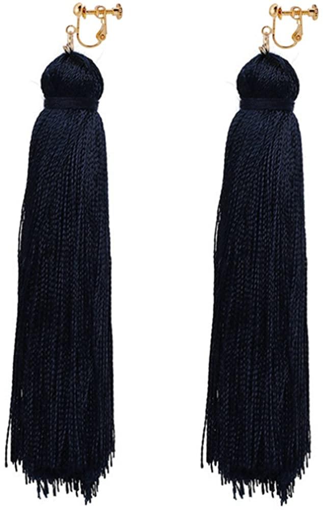 Thread Tassel Clip On Earrings Bohemian Deco Dangle Drop Stylish Black Banquet Gift