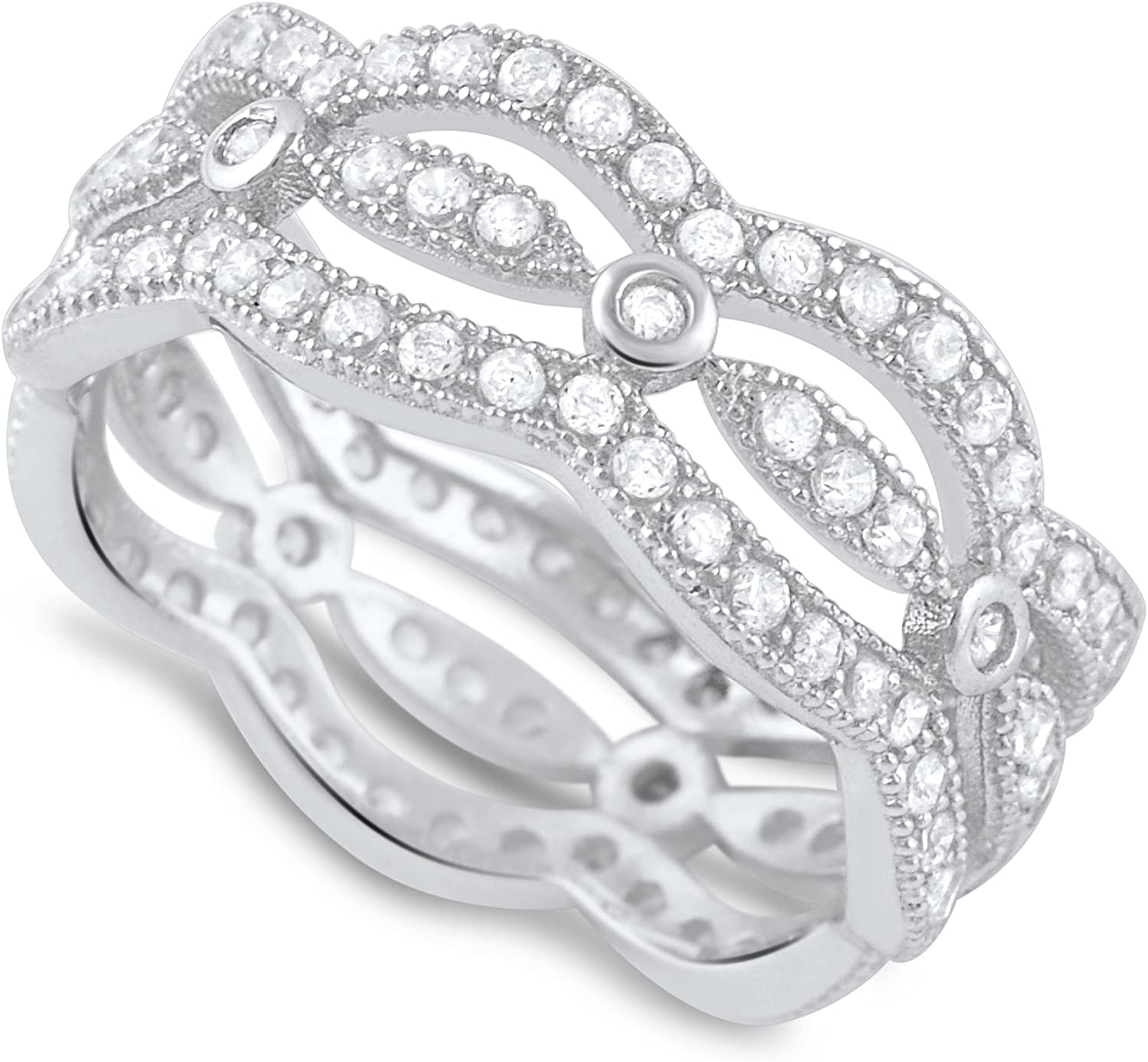 Sterling Silver Cz Stacked Eternity Ring (Size 4-9)