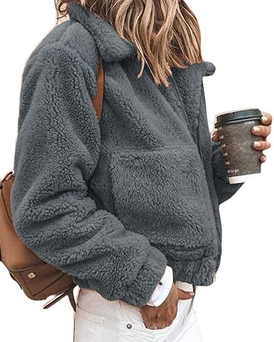 Xudcufyhu Women Solid Faux-Fur Fall-Winter Fleece Coat Zip Front Jacket Outerwear