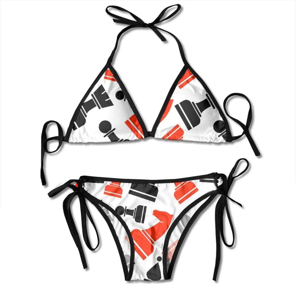 NHJM Red Black Chess Women's Bikini Set,Sexy Beach Bathing Swimsuit,Padded Bikini Print Top Swimwear