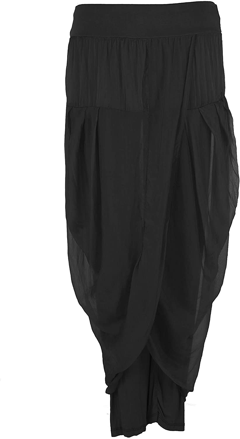 Ladies Womens Italian Lagenlook Plain Silk Flap Front Drape Sides Harem Leggings Trouser Pants One Size