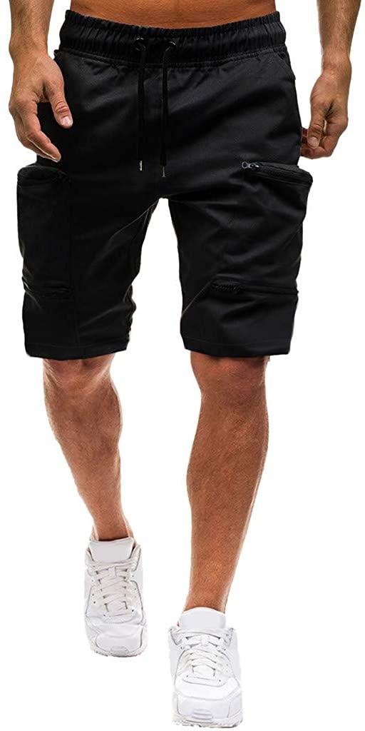 iYYVV Men Summer Casual Elastic Joggings Sport Solid Baggy Pockets Short Pant