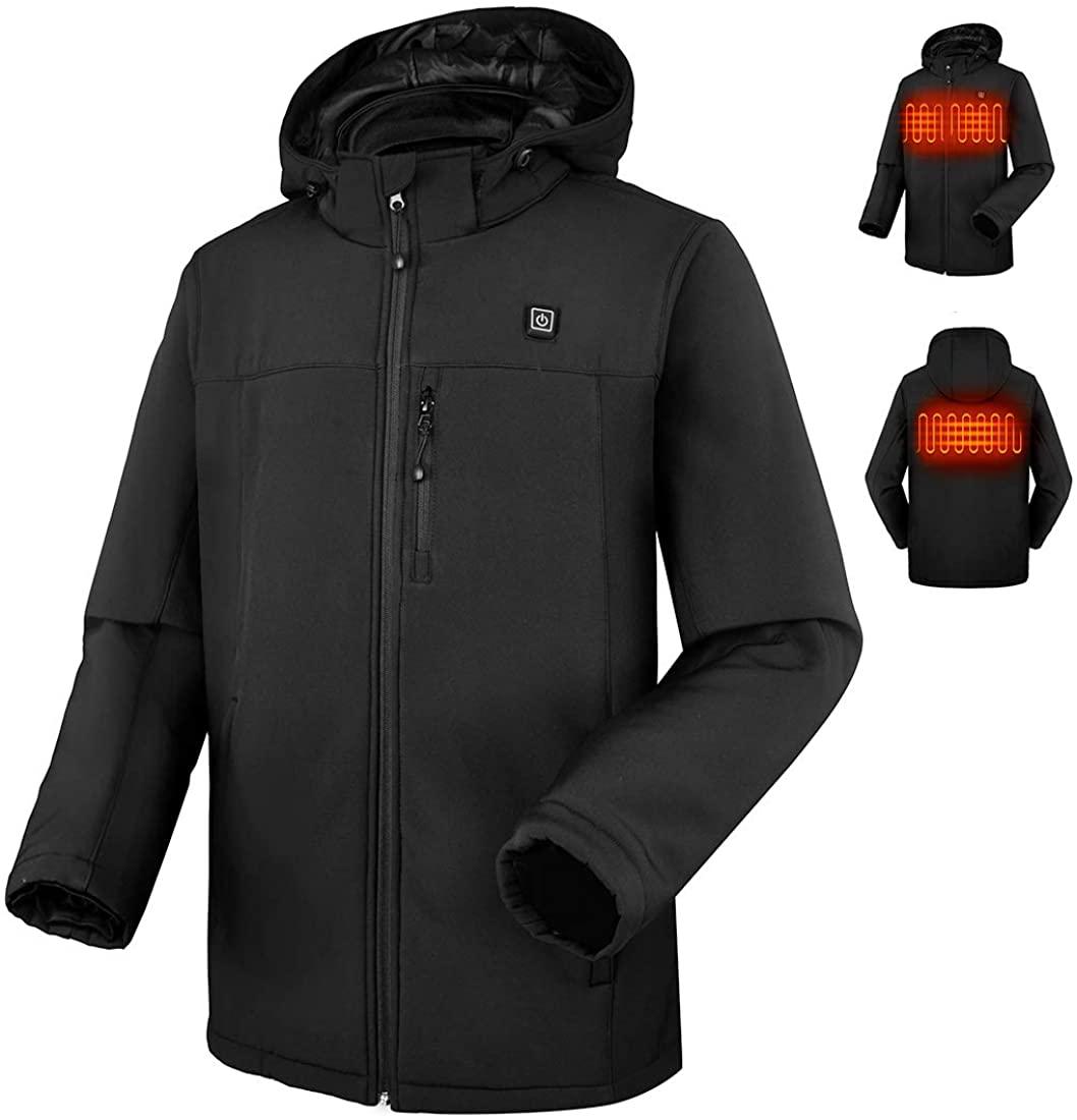 CLIMIX Heated Hoodie Sweatshirt Soft Shell Heated Jacket with Detachable Hood and 7.4V Heated Jacket System