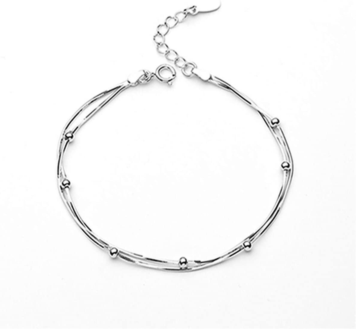 Beiswe Adjustable Silver Plated Bracelet Layered Beads Tassel Anklet for Women Girls Wedding