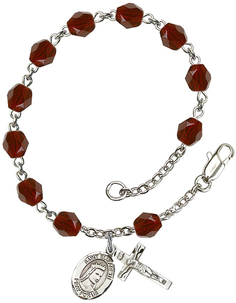 Silver Plate Rosary Bracelet features 6mm Garnet Fire Polished beads. The Crucifix measures 5/8 x 1/4. The charm features a St. Elizabeth of Hungary medal. Patron Saint Bakers/Homeless