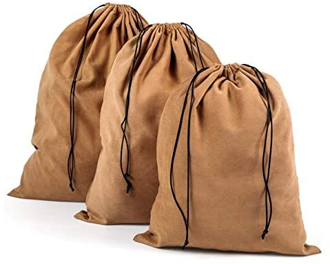 Chris.W Soft Dust-Cover Storage Bags with Drawstring Suede Pouch for Purses, Handbags, Pocketbooks, Shoes, Boots - Set of 3-S/M/L(Camel)
