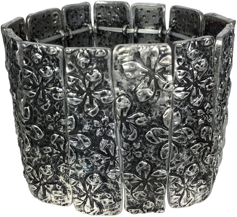 Gypsy Jewels Wide Silver Tone Panel Stretch Bracelet