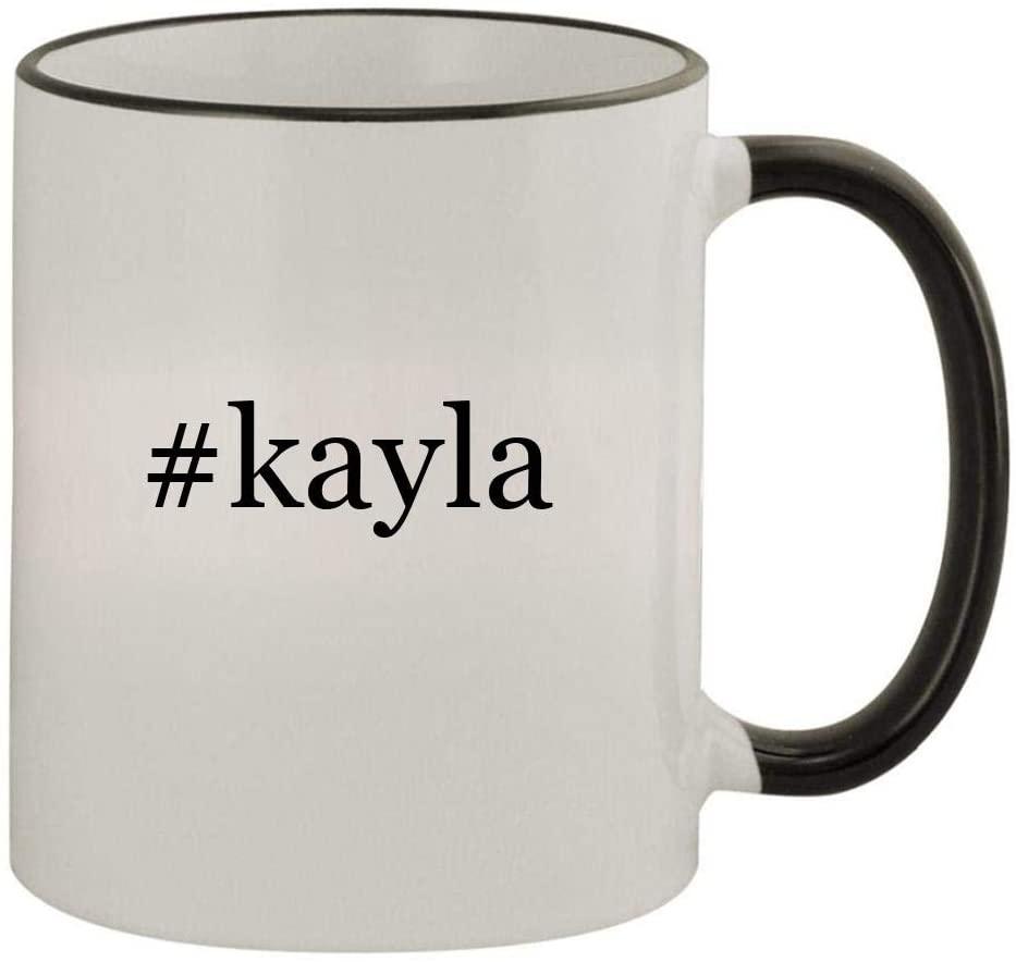 #kayla - 11oz Colored Handle and Rim Coffee Mug, Black