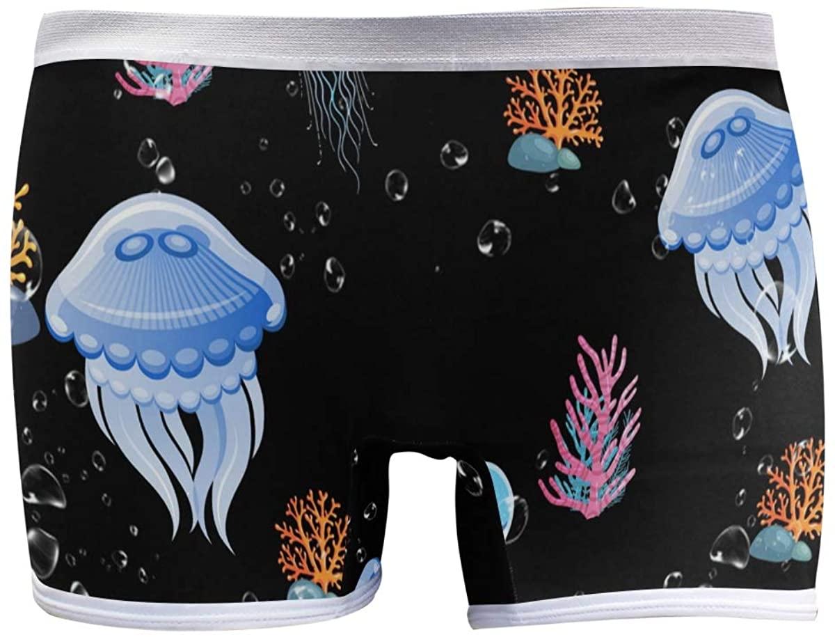 XUWU Women's Boyshort Panties Sea Life Jellyfish Coral Beautiful Soft Underwear Boxer Briefs