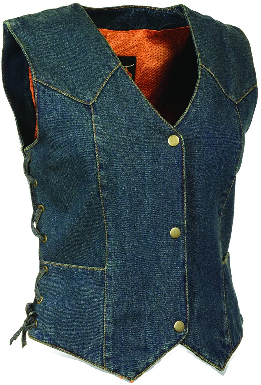 Milwaukee- Ladies Side Lace 4 Snap Front Denim Vest (Blue)