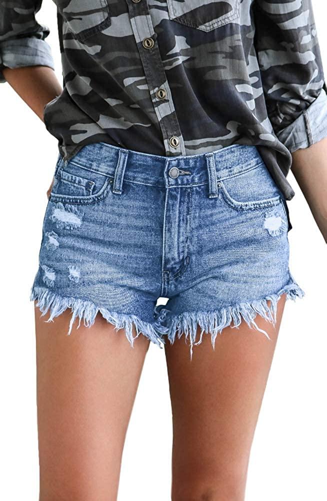 iRachel Womens Rise Ripped Denim Distressed Hot Pants Summer Jean Shorts