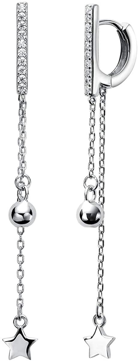 Jewever long-style Star Cubic Zirconia Hoop Earrings Huggie Stud for Woman Cuff
