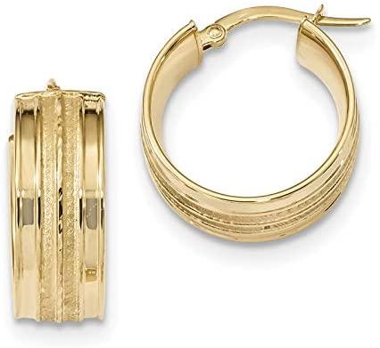 14k Polished & Satin Hoop Earrings