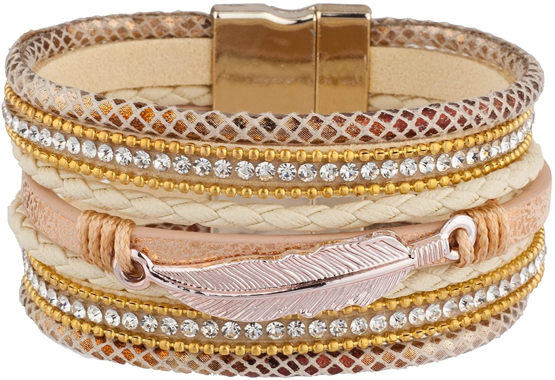 Lux Accessories Gold Tone Chic Boho Tribal Bohemian Feather Wrap Bracelets