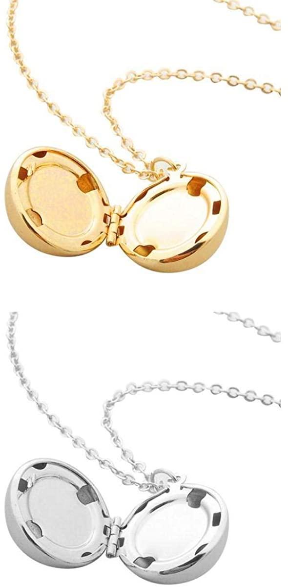 Bonarty 2 Pieces Creative Alloy Pendant Necklace Secret Locket Necklace Jewelry