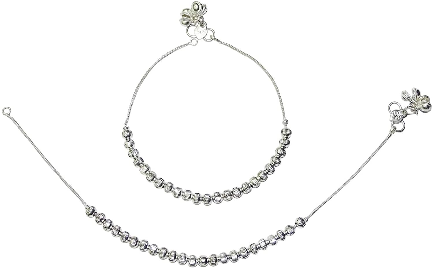 Ghoomar Traditional Anklet Women's Indian Payal Foot Jewelry Silver Tone Metal Ankle Bracelets Gift for Mom