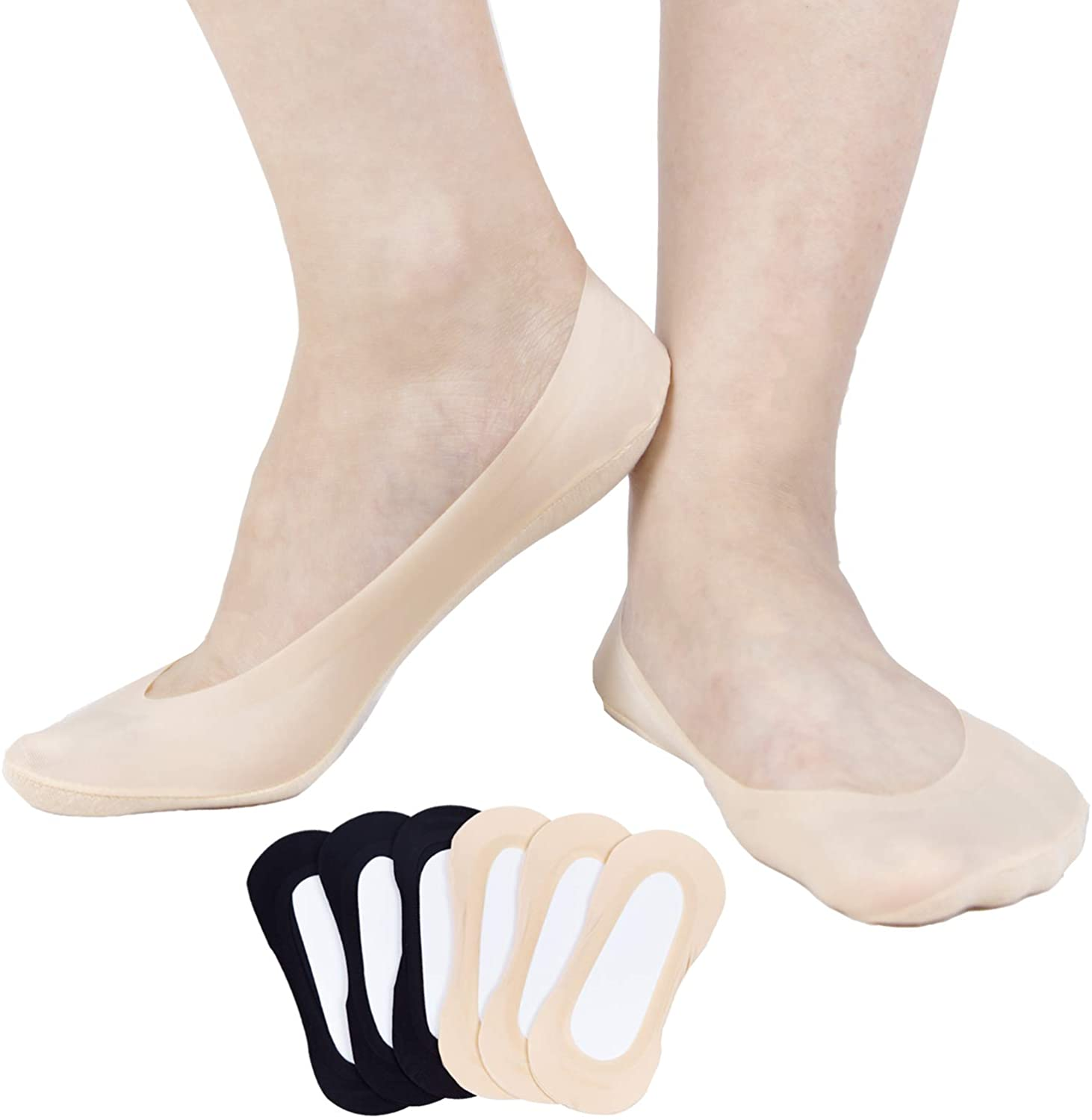 Women's 6Pack Ultra No Show Low Cut Non Slip Socks,Thin Ice Silk Invisible Liner Summer Socks for Flats Boat
