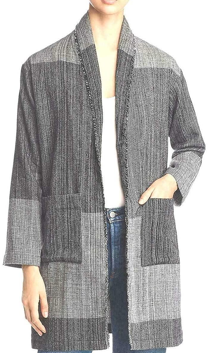 Eileen Fisher Organic Cotton Hazy Blocks Black/Off-White Jacket S/M