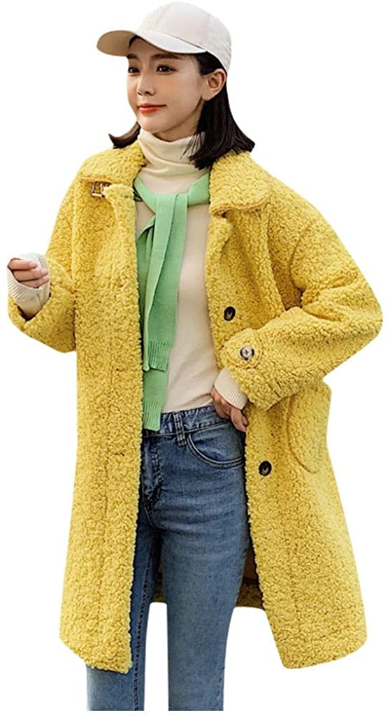 TOTAMALA Women's Winter Lambswool Coat Fashion Solid Color High Collar Long Button Loose Pocket Jacket Parka(S~L)