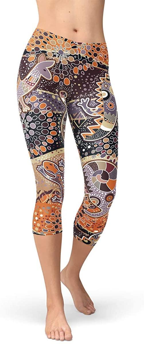 Aboriginal Art Capri Leggings Koala, Kangaroo, Crocodile Print Mid Waist Calf Length Pants